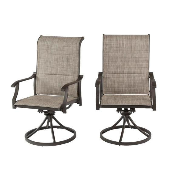 Riverbrook Espresso Brown Padded Sling Swivel Steel Outdoor Patio Lounge Chairs (2-Pack)