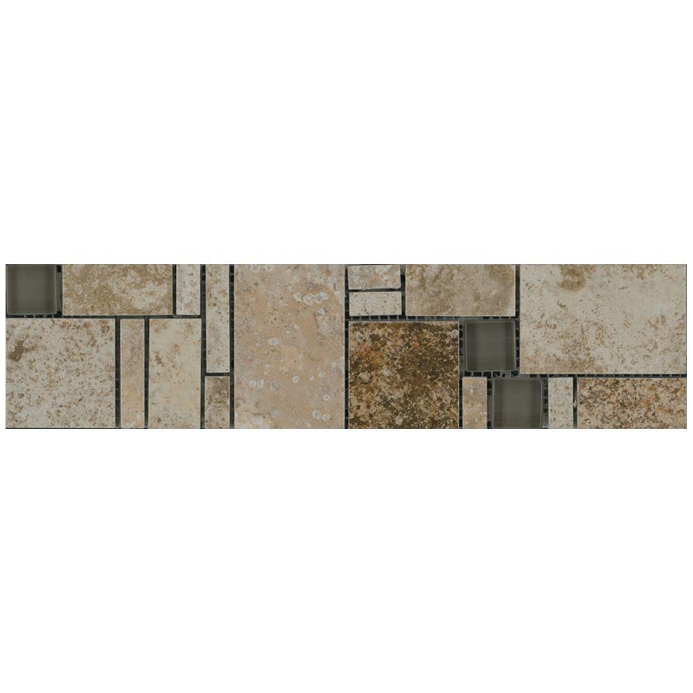 MARAZZI Travisano Trevi and Bernini 3 in. x 12 in. Glass Accent Decorative Trim Wall Tile