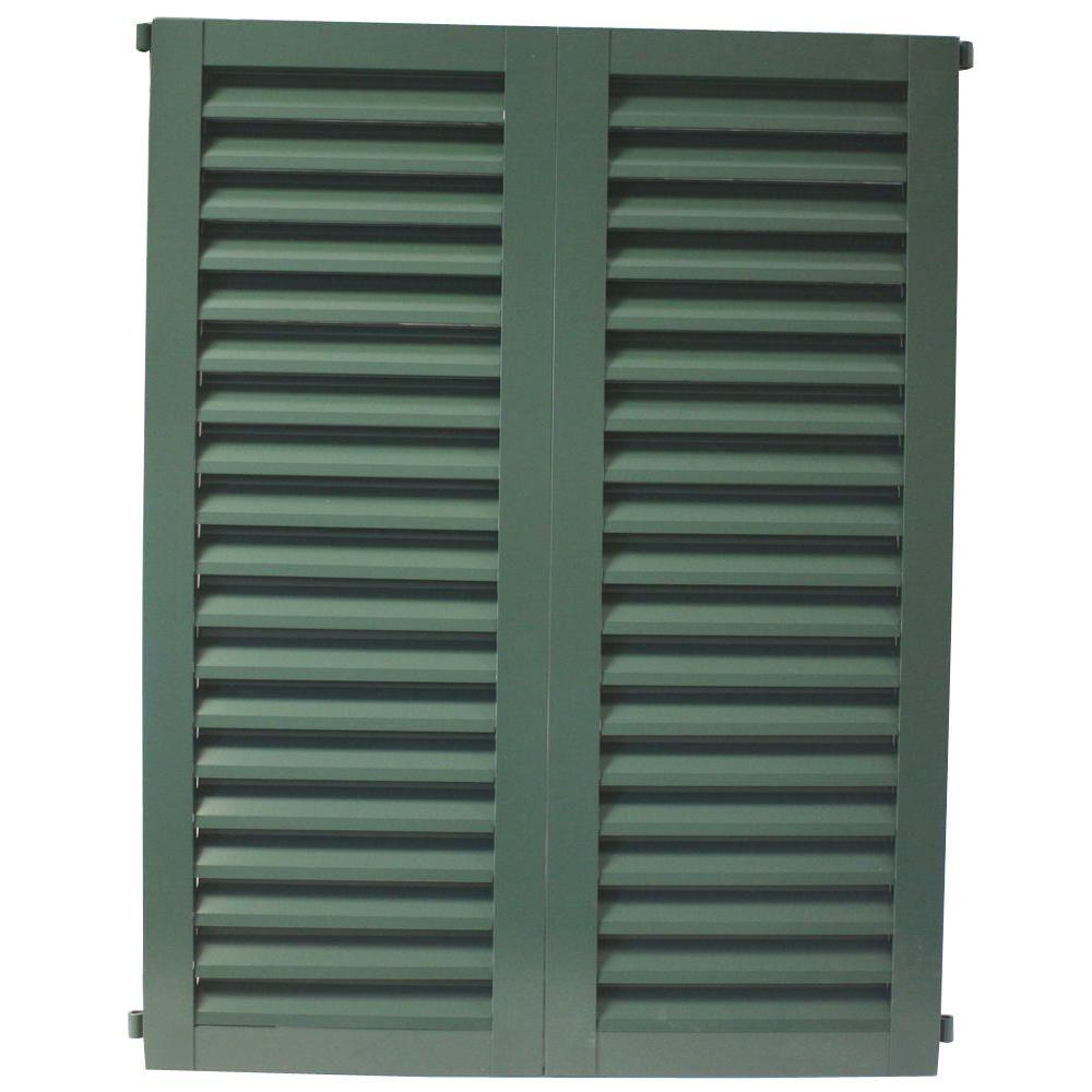 POMA 52 in. x 51.75 in. Green  Colonial Louvered Hurricane Shutters Pair