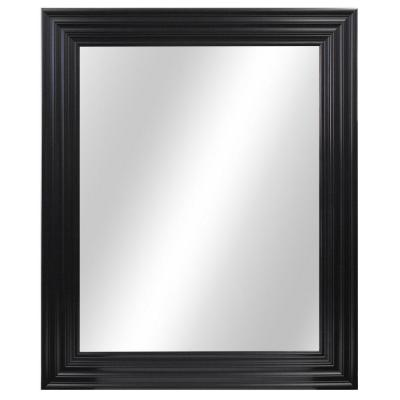34 in. W x 28 in. H Framed Rectangular Anti-Fog Bathroom Vanity Mirror in Black Finish