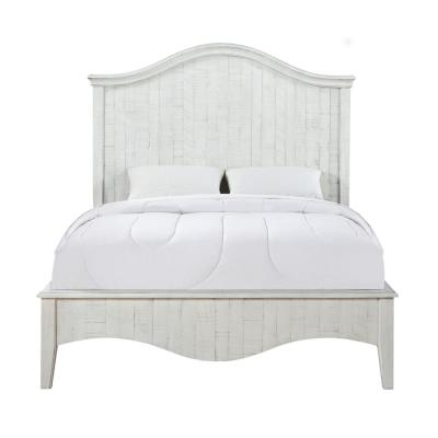 Ella White White Wash Queen Panel Bed with Camelback Headboard