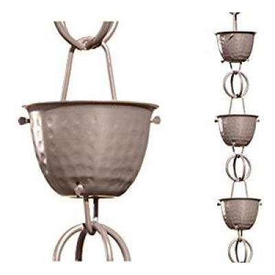 Monarch 8-1/2 ft. L Musket Brown Aluminum Hammered Cup Rain Chain