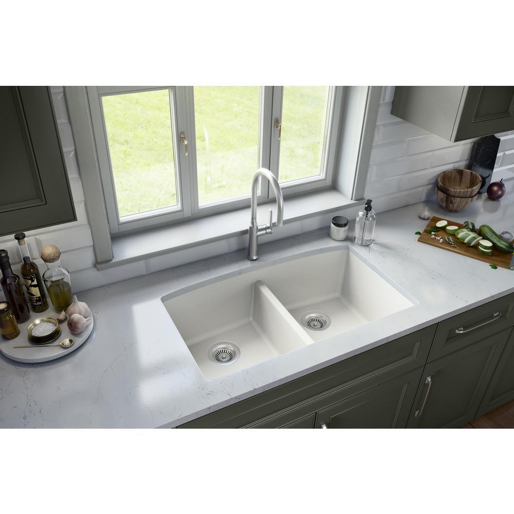 Undermount Quartz Composite 32 in. 50/50 Double Bowl Kitchen Sink in White