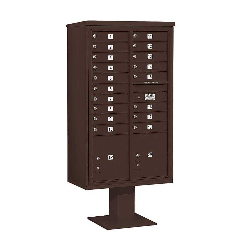 3400 Series 70-1/4 in. 15 Door High Unit Bronze 4C Pedestal