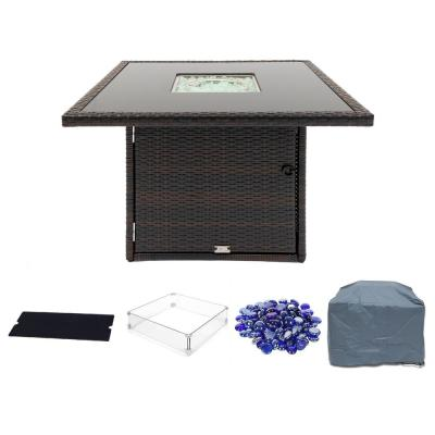 Hudson 36 in. Square Outdoor Brown Wicker Aluminum Propane Fire Pit Table in Tempered Glass w/Fire Glass