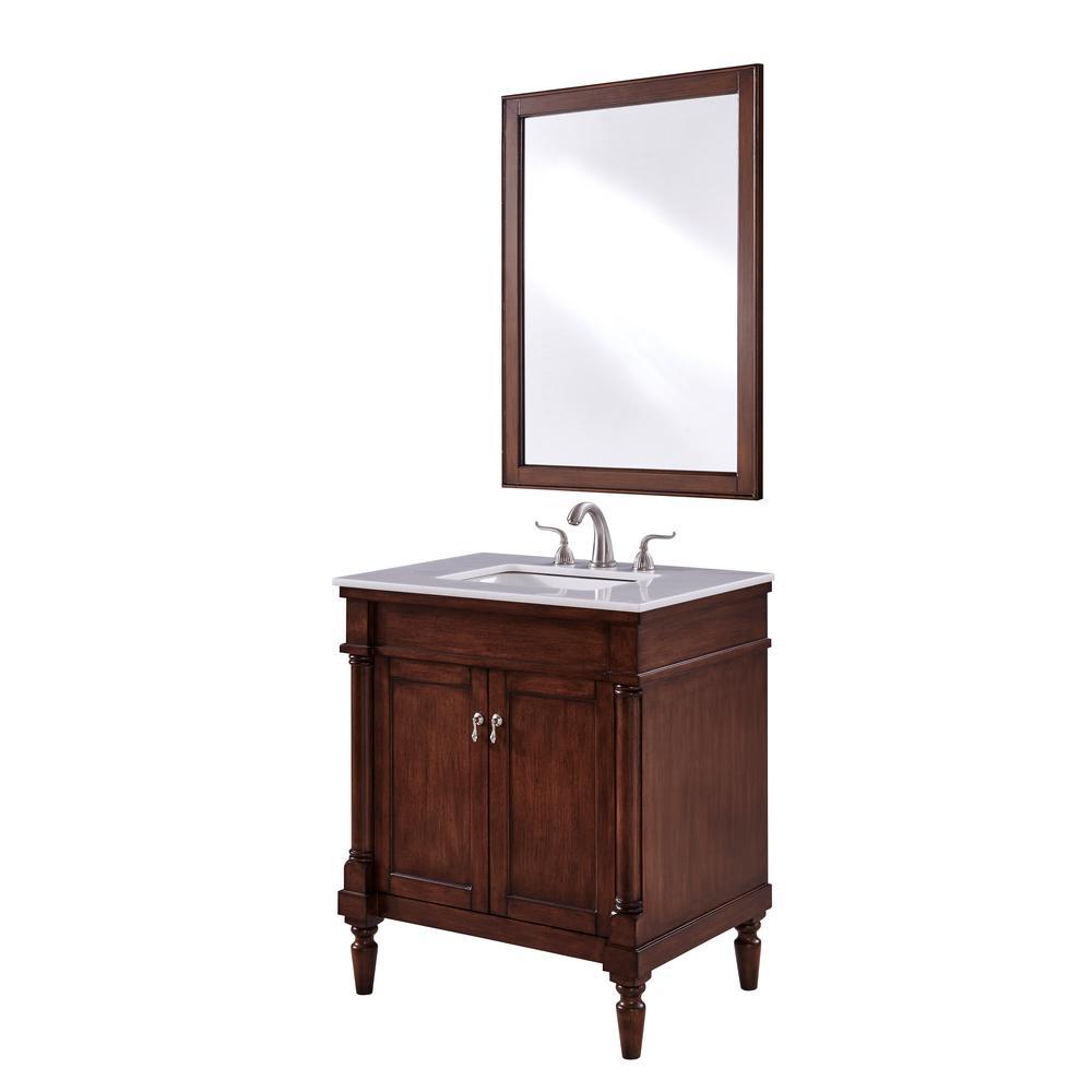 Wagner 30 in. Single Bath Vanity w/ 1 Shelf 2 Doors; Marble Top; Porcelain Sink; Walnut