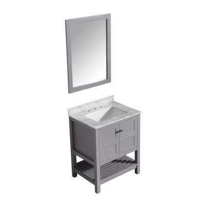 Montaigne 30 in. W x 22 in. D Vanity in Gray with Marble Vanity Top in Carrara White with White Basin and Mirror