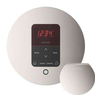 iTempo Plus Control with AromaSteam Steam Head Round for Steam Bath Generator in Polished Nickel