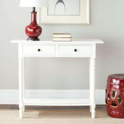 Rosemary Distressed Cream Storage Console Table