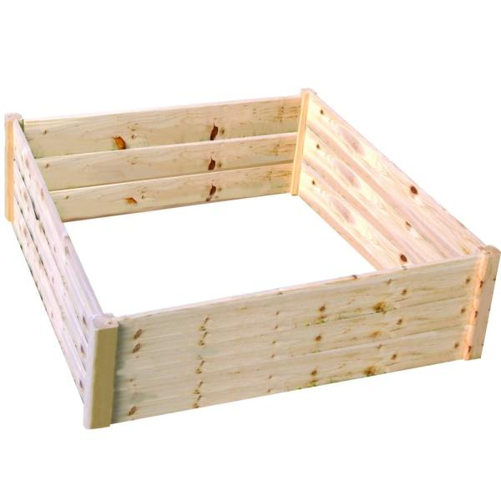4 ft. x 4 ft. x 17.5 in. Wood Raised Garden Bed