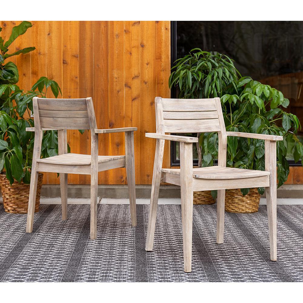 Excellent Sun Isle Horizon Acacia Wood Outdoor Dining Arm Chair 2 Piece Creativecarmelina Interior Chair Design Creativecarmelinacom
