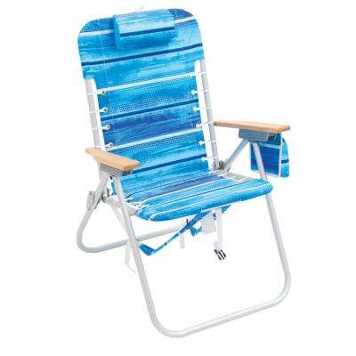 Incredible 4 Position Hi Boy Aluminum Striped Backpack Beach Chair With Hardwood Armrests Bralicious Painted Fabric Chair Ideas Braliciousco