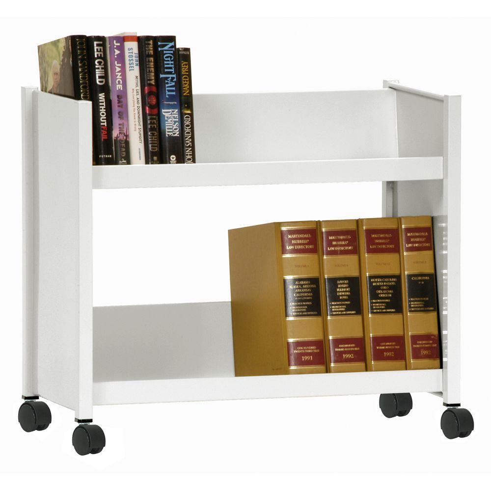 Sandusky 2-Sloped Shelf Welded Booktruck in White