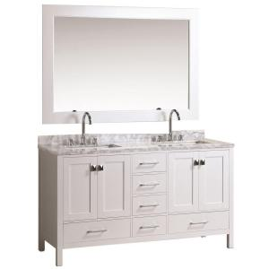 Click here to buy Design Element London 61 inch W x 22 inch D Double Vanity in White with Marble Vanity Top and Mirror in Carrara White by Design Element.