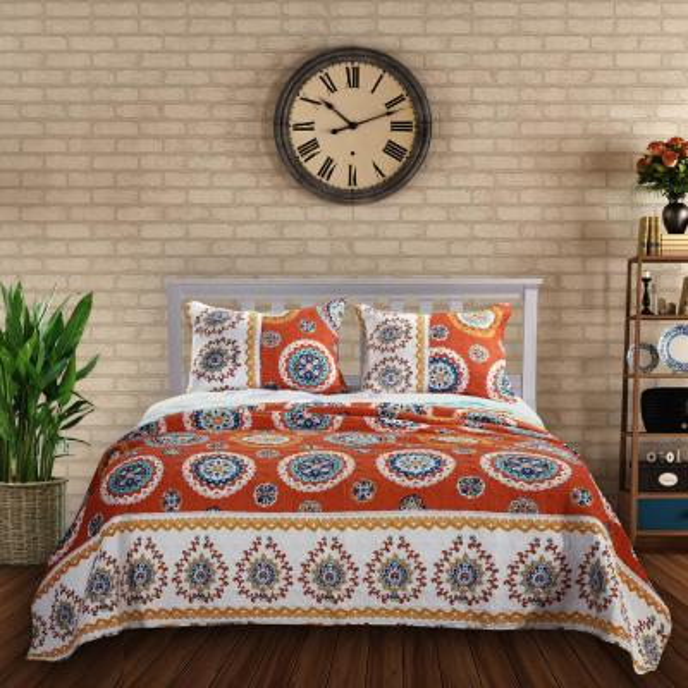 Rozario Tangerine Quilt Set, 3-Piece Full/Queen
