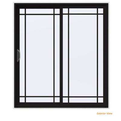72 in. x 80 in. V-4500 Contemporary Black Painted Vinyl Left-Hand 9 Lite Sliding Patio Door w/White Interior
