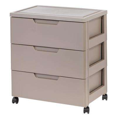 23.5 in. x 24.133 in. Tan Drawer Wide Chest
