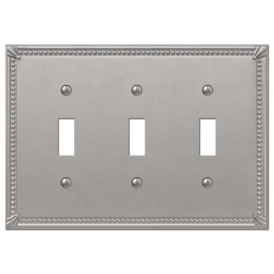 Imperial Bead 3 Gang Toggle Metal Wall Plate - Brushed Nickel