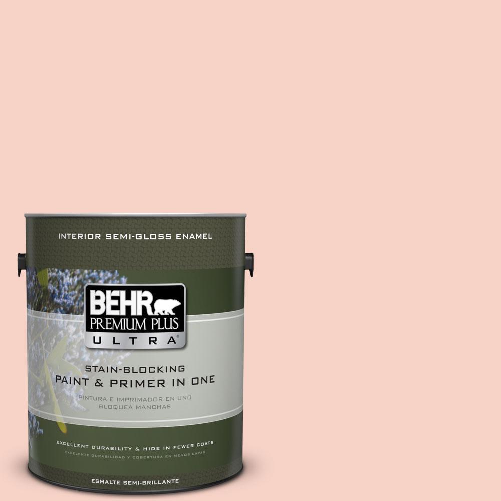 BEHR Premium Plus Ultra 1-gal. #210C-2 Demure Pink Semi-Gloss Enamel Interior Paint