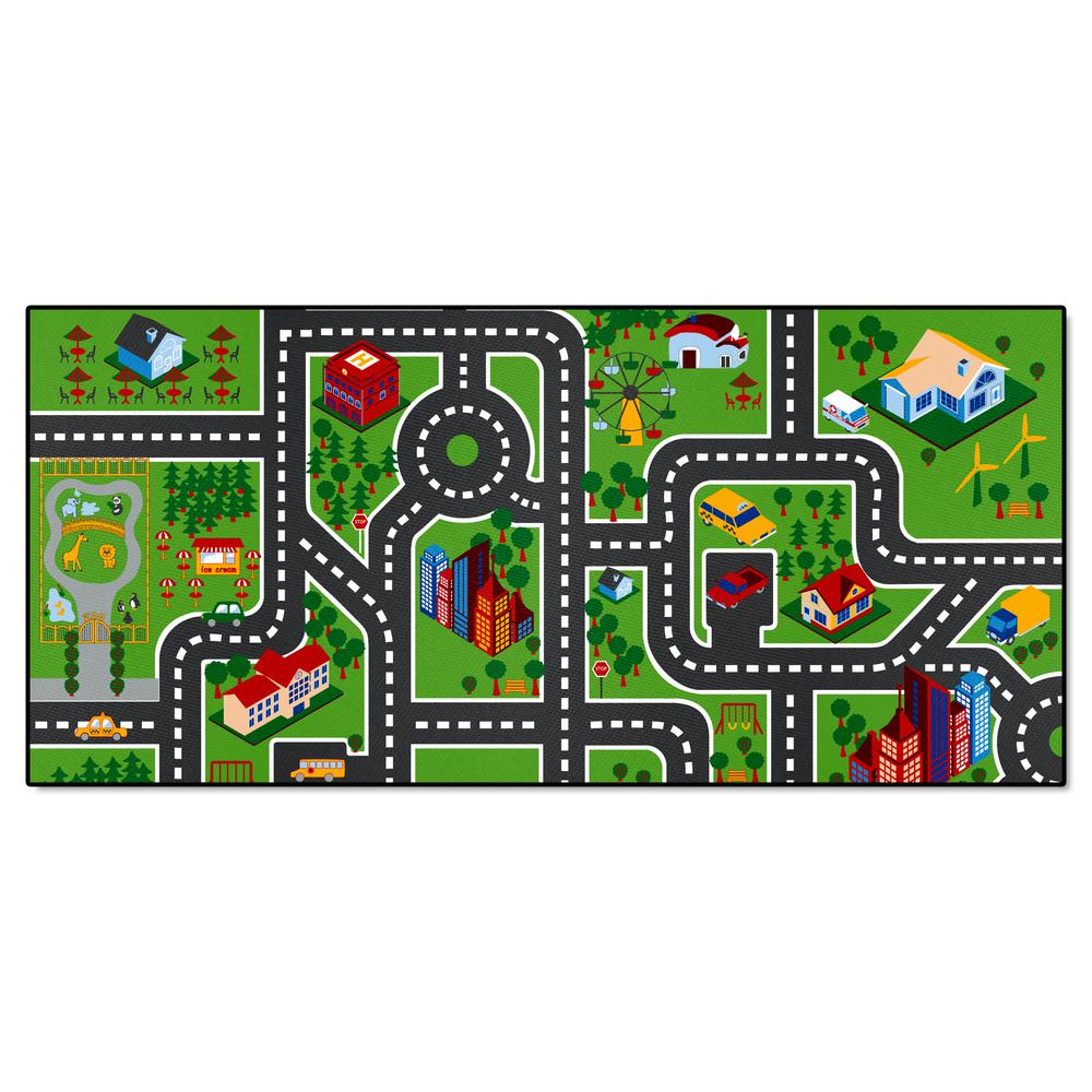 City Streets Green Multi 3 ft. x 6 ft. Non-Slip Kids