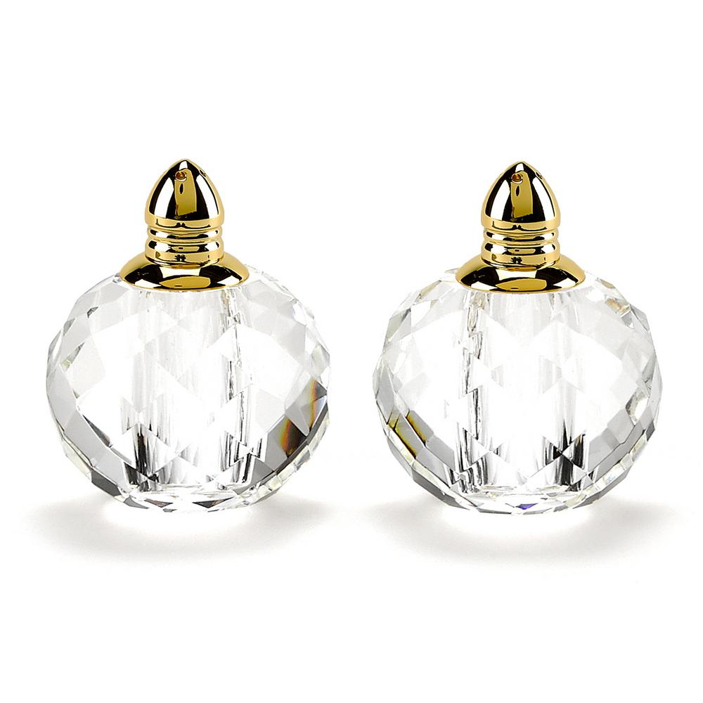 Handmade Lead Free Crystal Pair Salt and Pepper Clear Zendra Gold