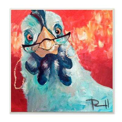 """12 in. x 12 in."""" Stylishly Appalled and Painterly Chicken"""" by Main Line Art & Design Printed Wood Wall Art"""