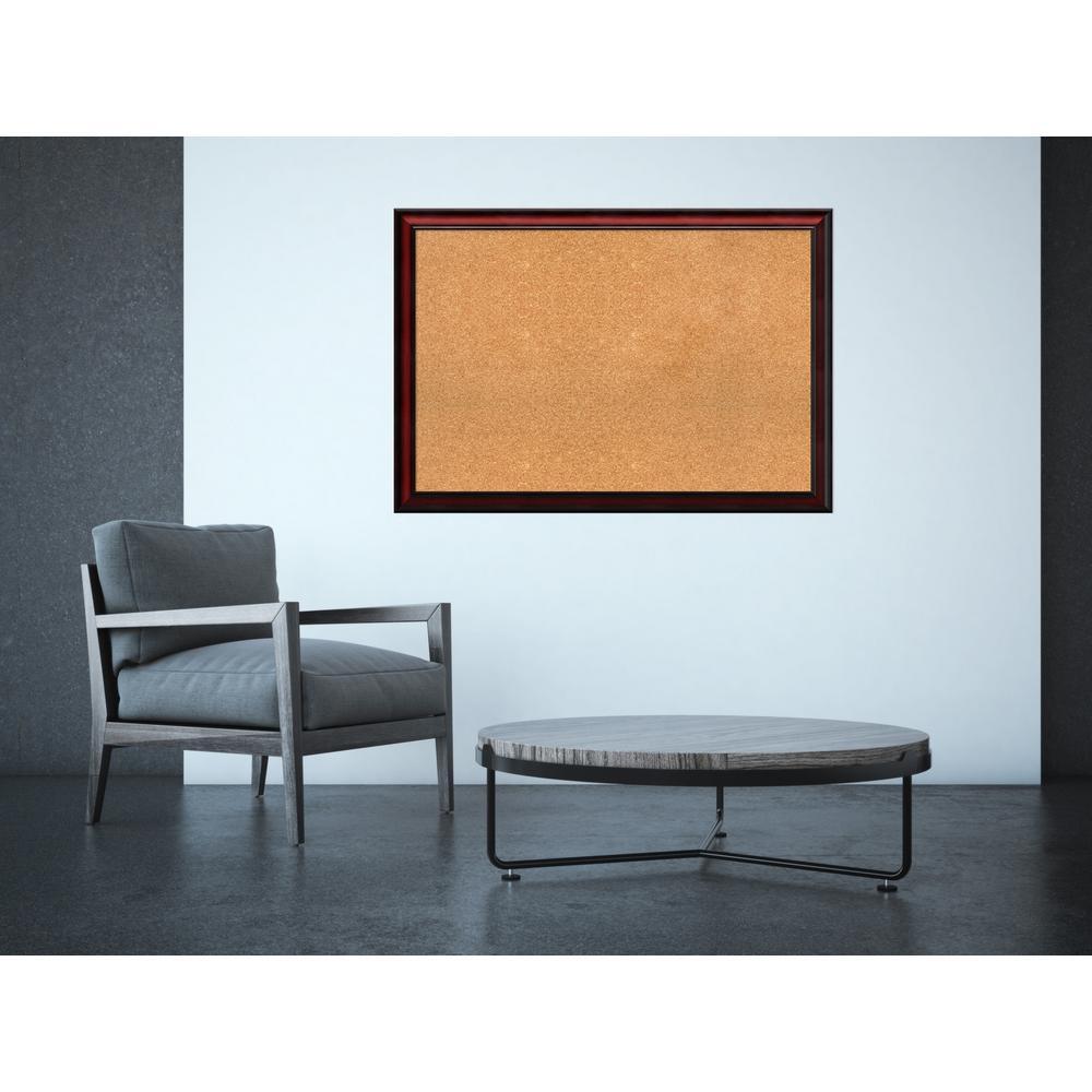Rubino Cherry Scoop Wood 39 in. W x 27 in. H Framed Cork Board
