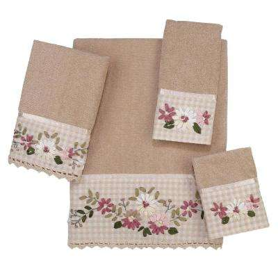 Victoria Embroidered 4-Piece Bath Towel Set in Linen