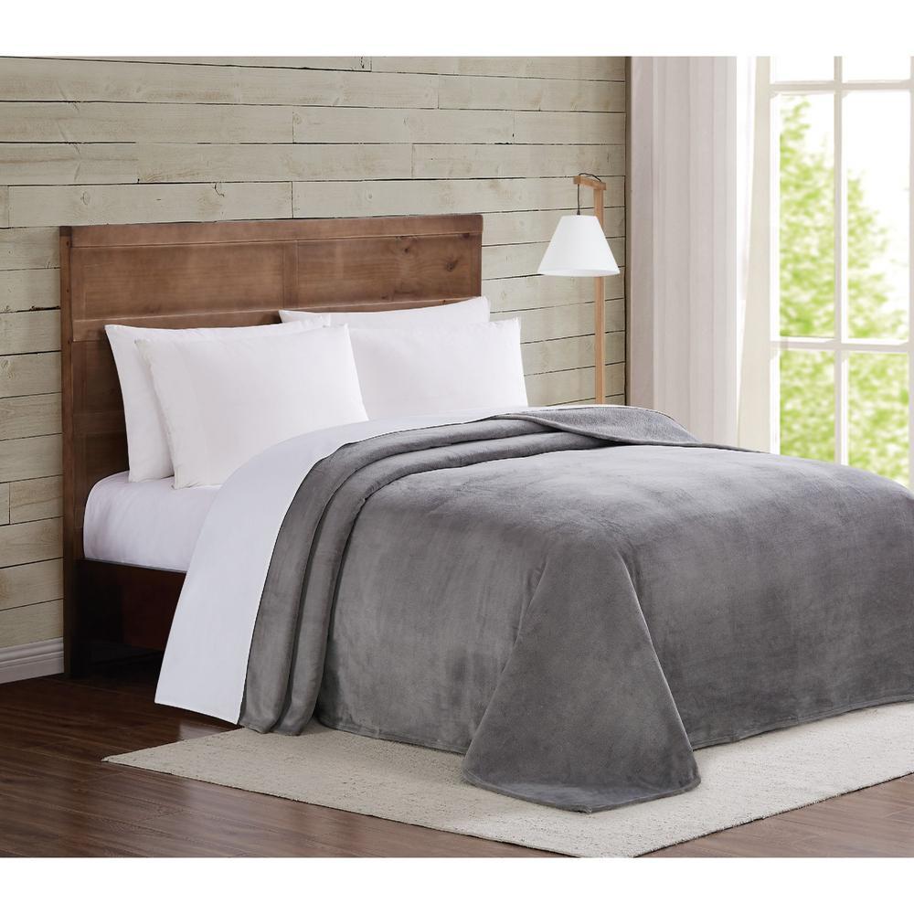 Grey Velvet Plush Full/Queen Blanket