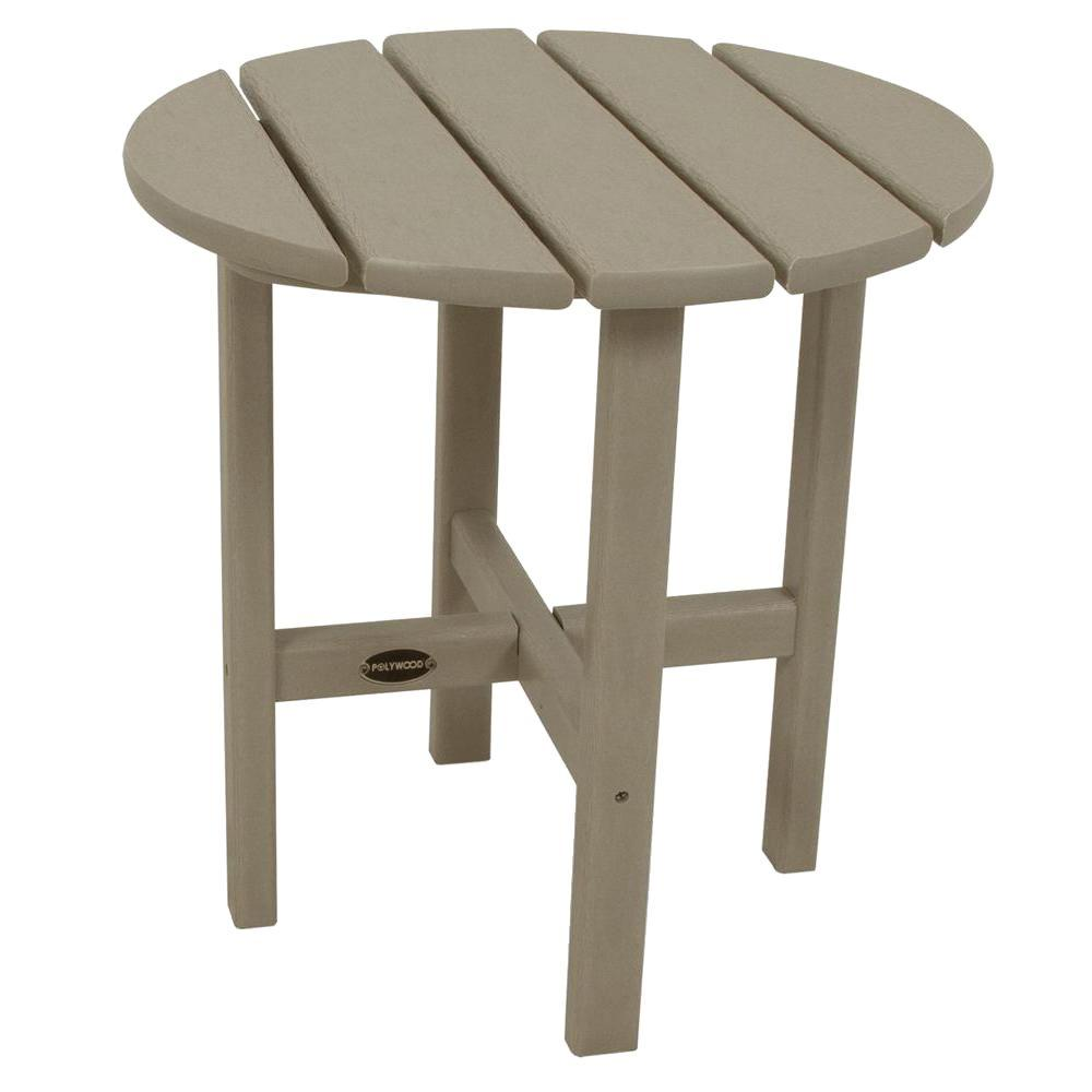 18 in. Sand Round Patio Side Table