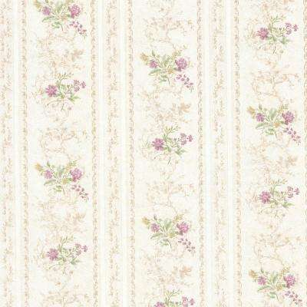 Maury Mauve Floral Bouquet Stripe Wallpaper