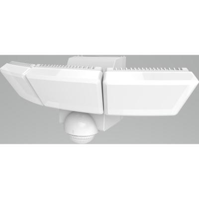 180-Degree White Triple Battery Motion Sensor Outdoor Integrated LED Flood Lights with 1200 Lumens
