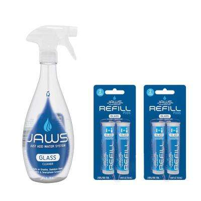 27 oz. Ammonia-Free Glass Cleaner - Reusable Spray Bottle and Concentrated Refills Pods (4-Pack)