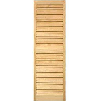 15 in. x 59 in. Louvered Shutters Pair Unfinished
