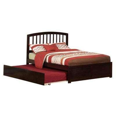 Richmond Espresso Full Platform Bed with Flat Panel Foot Board and Twin Size Urban Trundle Bed