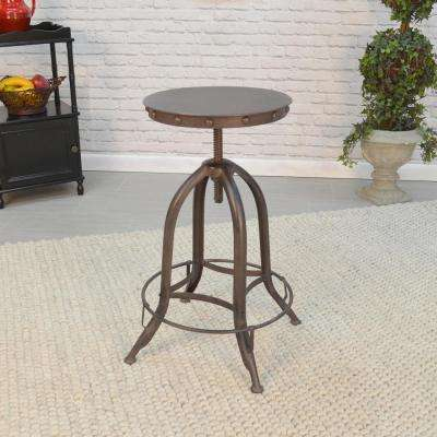 Vinay Adjustable Height Chestnut and Black Bar Stool