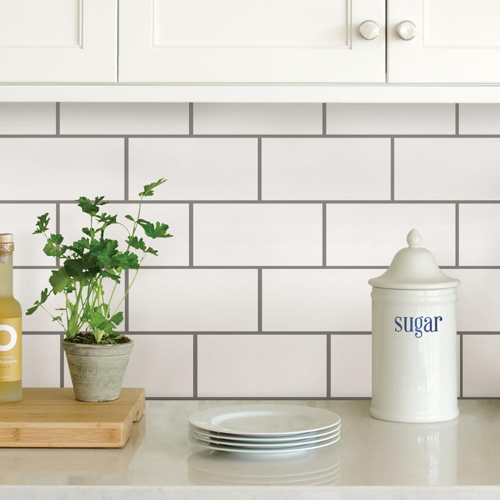 WallPOPs White Subway Peel Stick Backsplash Tiles
