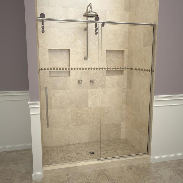 2600V Series 47 in. W x 76 in. H Semi-Frameless Sliding Shower Door in Polished Chrome with Pull Handles and Clear Glass