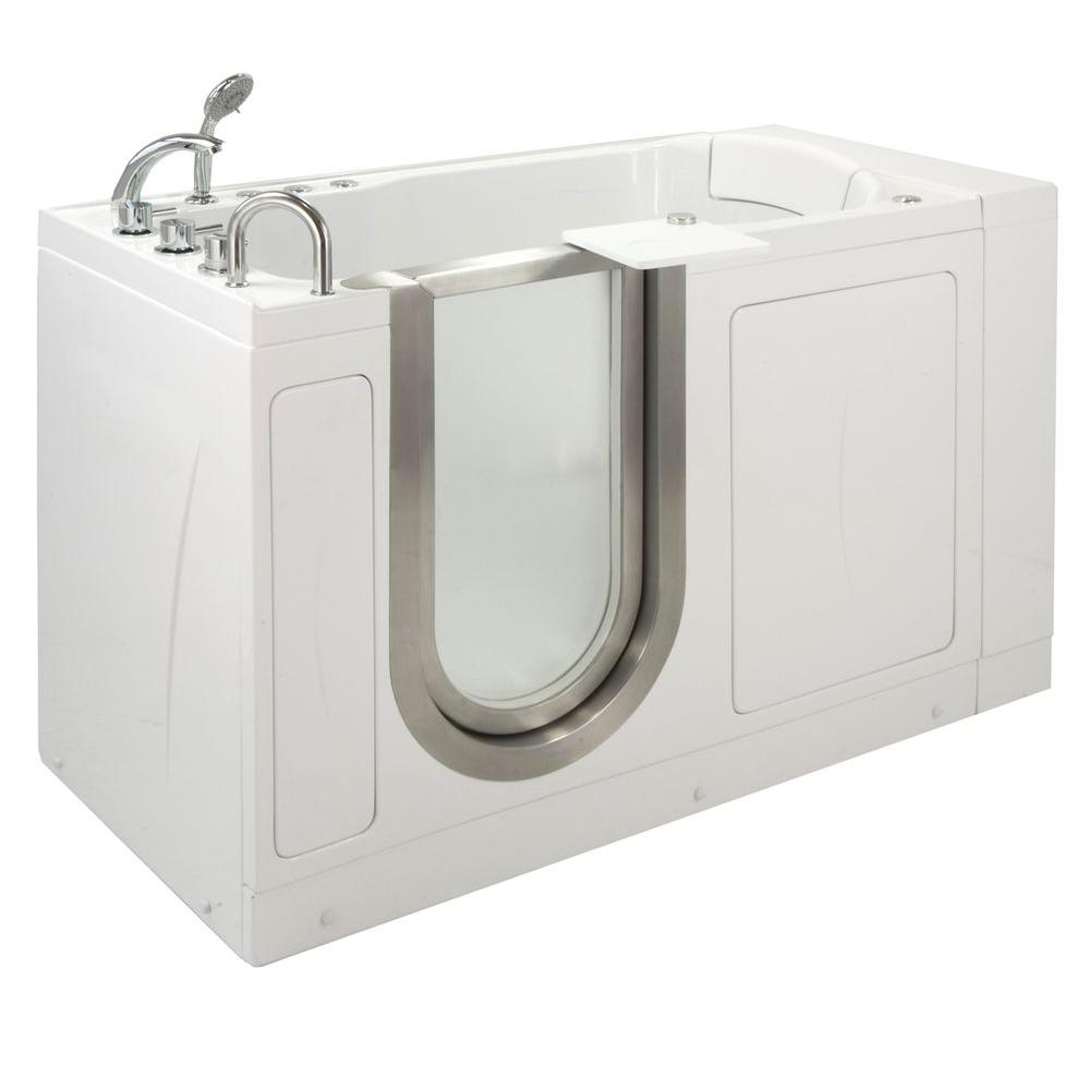 Ella Petite 4.33 ft. x 28 in. Acrylic Walk-In Dual (Air and Hydro) Massage Bathtub in White with Left Drain/Door