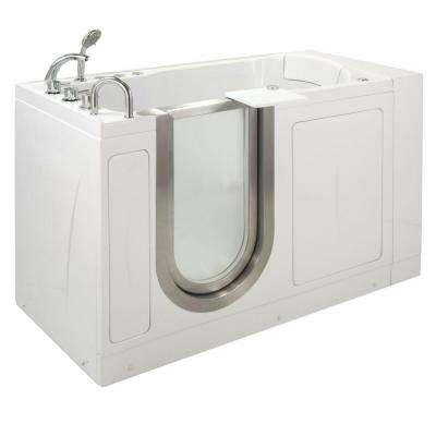 Petite 4.33 ft. x 28 in. Acrylic Walk-In Dual (Air and Hydro) Massage Bathtub in White with Left Drain/Door
