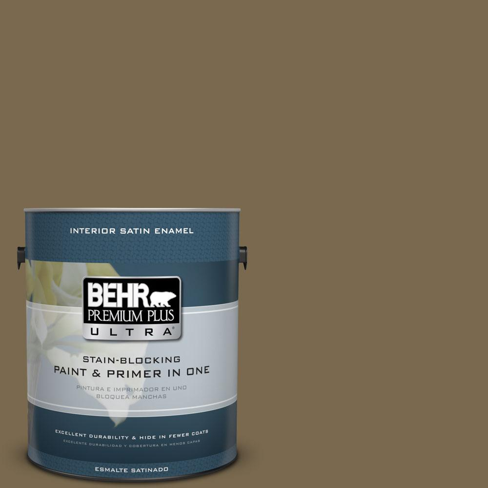 BEHR Premium Plus Ultra 1 gal. #750D-6 Lemon Pepper Satin Enamel Interior Paint and Primer in One