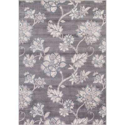 Lara Floral Harmony Gray 7 ft. 10 in. x 10 ft. 6 in. Area Rug