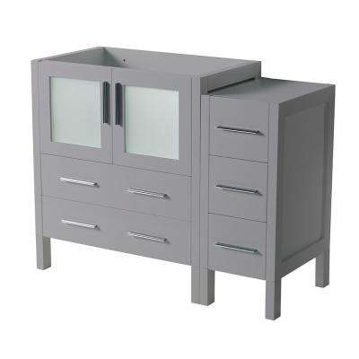 Torino 42 in. W Modern Bath Vanity Cabinet Only in Gray with Side Cabinet