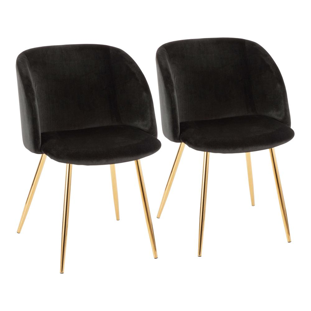 4f8d04d2556 Lumisource Fran Black Velvet and Gold Chair (Set of 2)-CH-FRAN AU+ ...