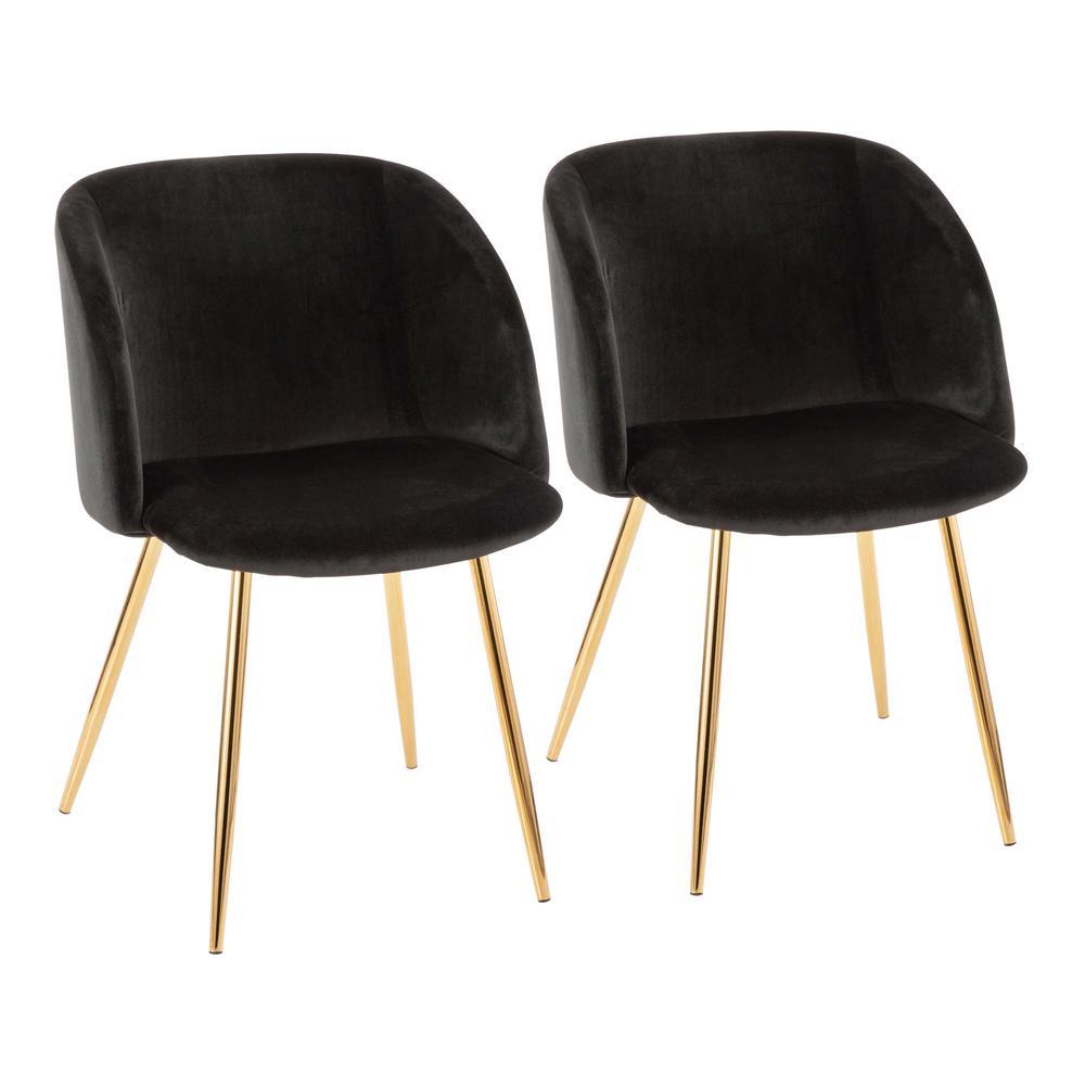 Fran Black Velvet and Gold Chair (Set of 2)