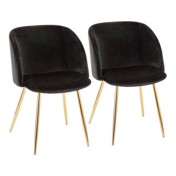 Lumisource Fran Black Velvet And Gold Chair Set Of 2 Ch