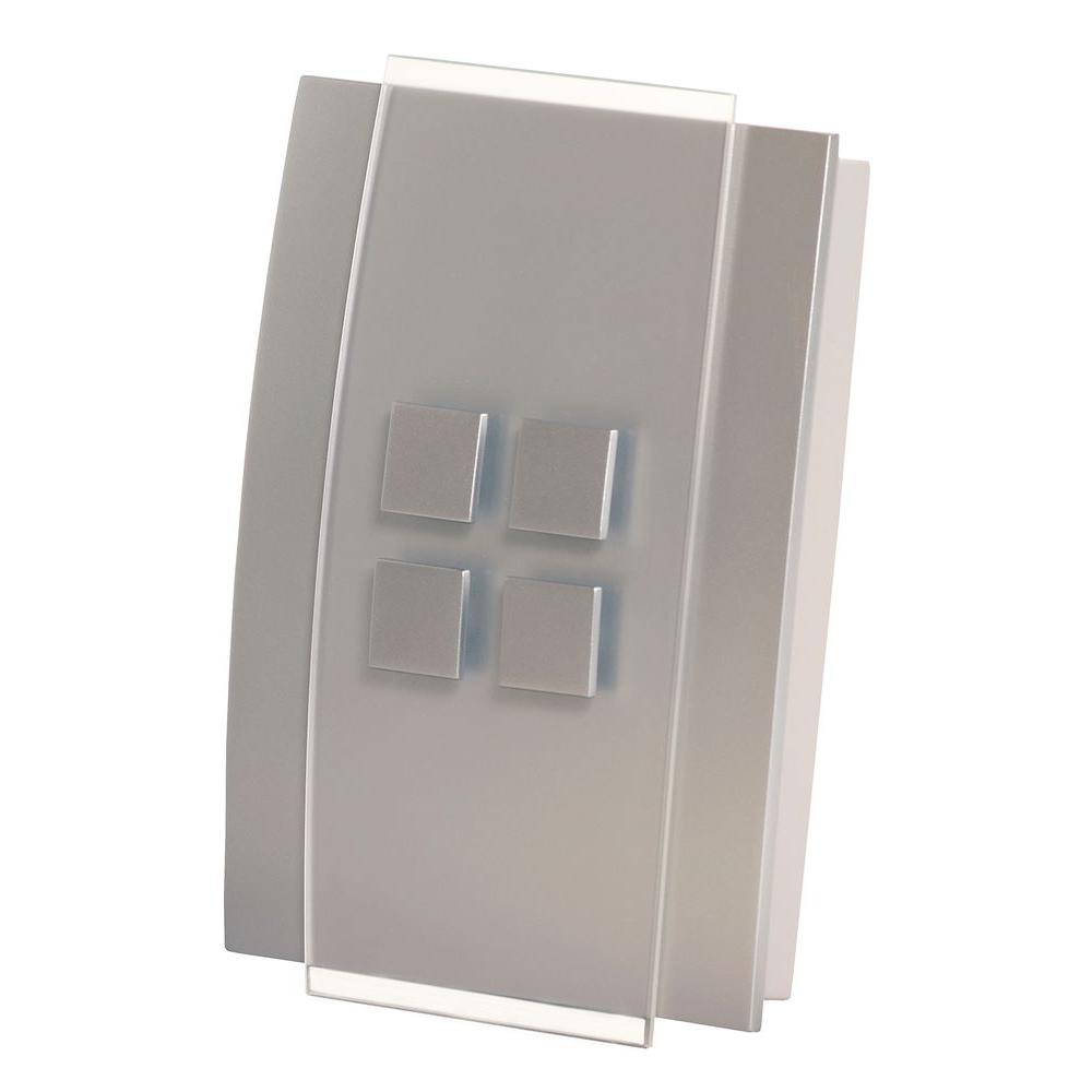 Decor Series Wireless Door Chime with Push Button, Satin Nickel