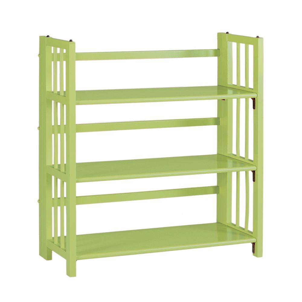 Home Decorators Collection Multimedia Green Folding and Stacking 3-Shelf Bookcase