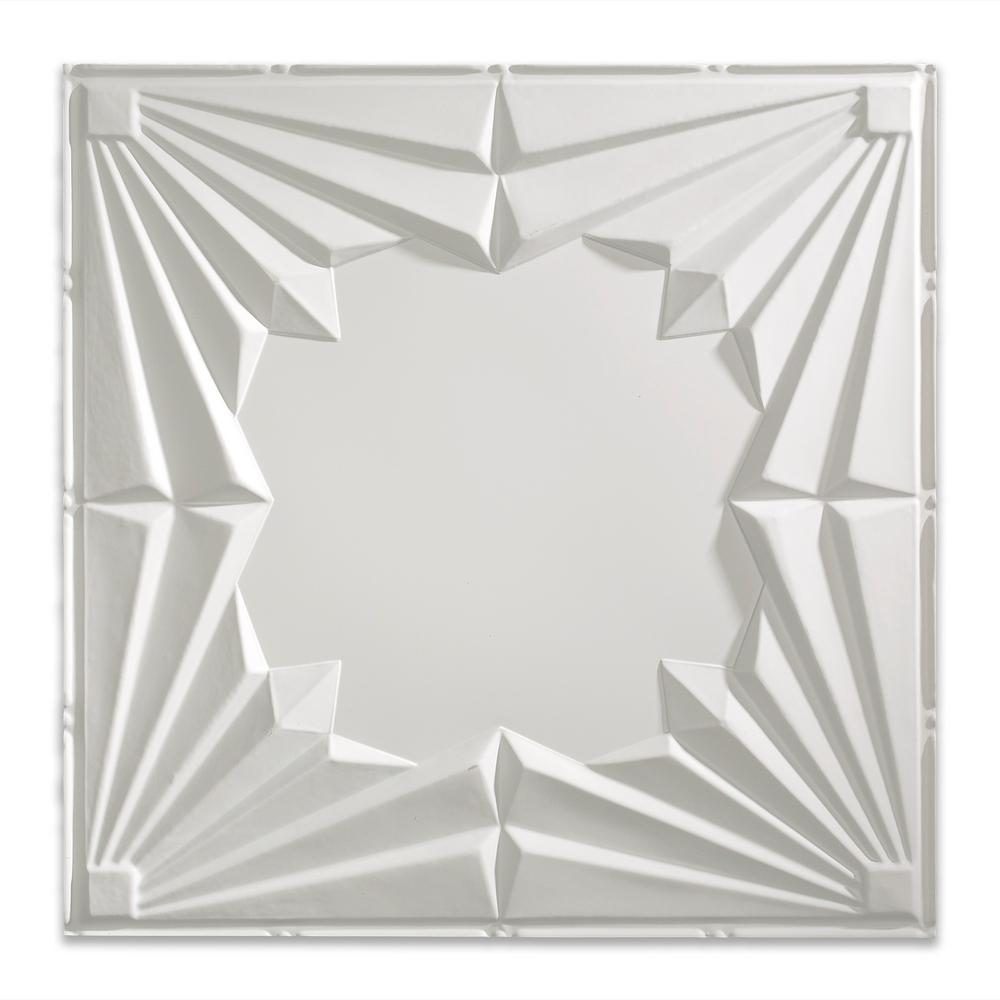 Fasade Art Deco 2 Ft X 2 Ft Matte White Lay In Vinyl Ceiling Tile 20 Sq Ft Pl5801 The Home Depot