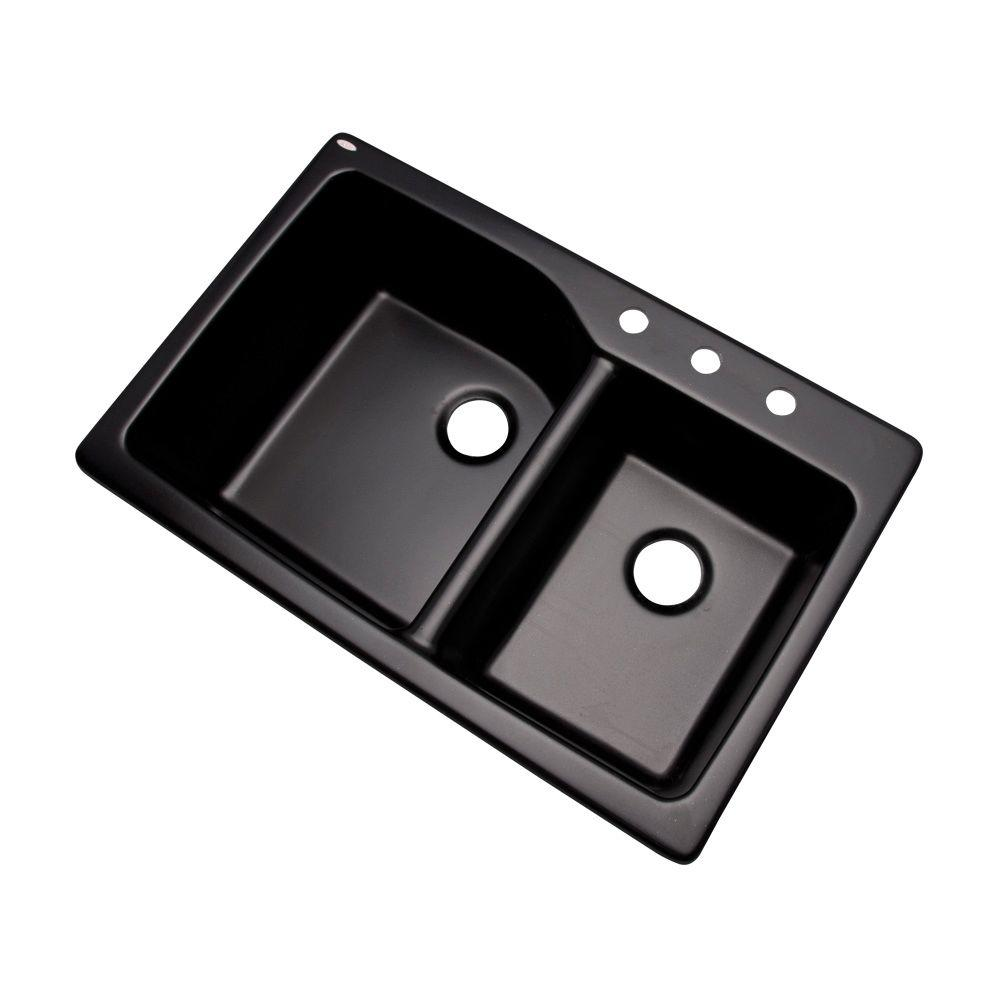 Black Kitchen Sinks: Mont Blanc Grande Drop-In Composite Granite 34 In. 3-Hole Double Bowl Kitchen Sink In Black